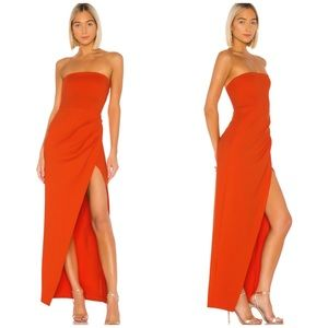 Revolve NBD Lucinda gown red orange